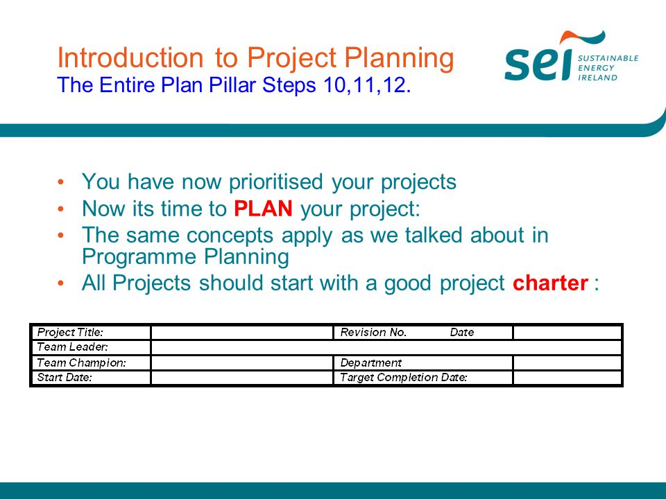 Introduction to Project Planning The Entire Plan Pillar Steps 10,11,12.