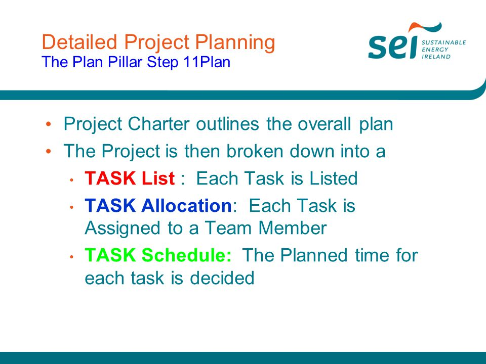 Detailed Project Planning The Plan Pillar Step 11Plan