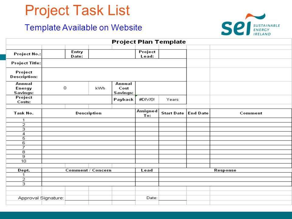Project Task List Template Available on Website