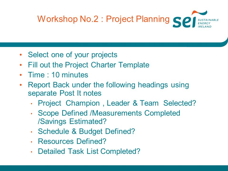 Workshop No.2 : Project Planning