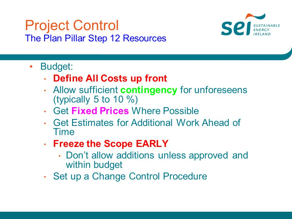 Project Control The Plan Pillar Step 12 Resources