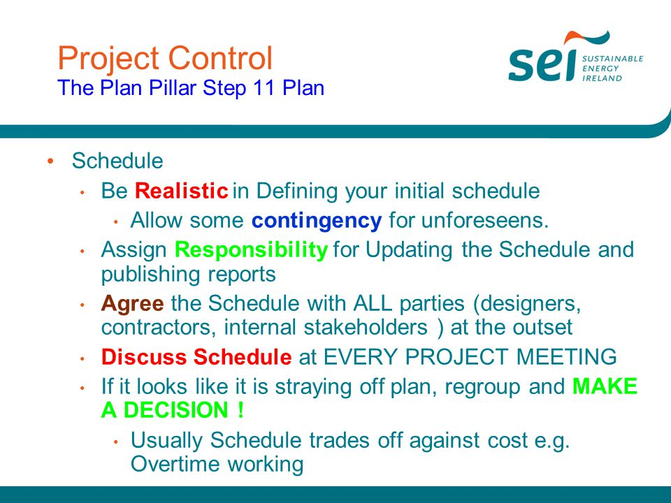 Project Control The Plan Pillar Step 11 Plan