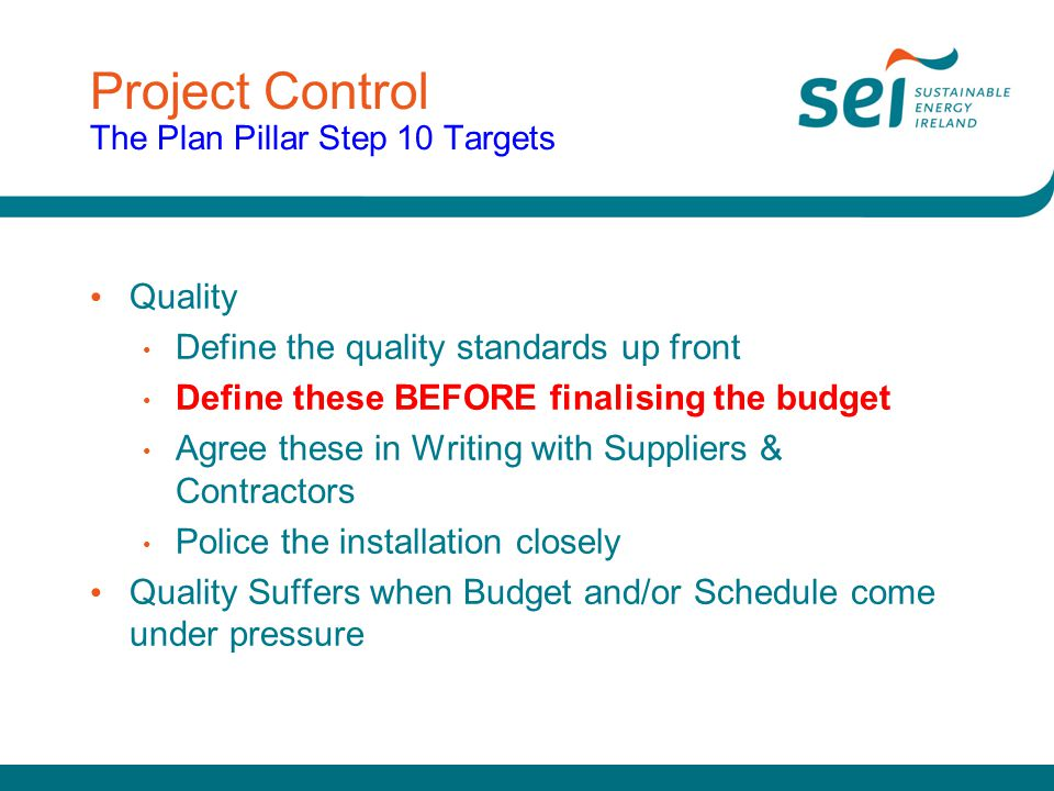 Project Control The Plan Pillar Step 10 Targets