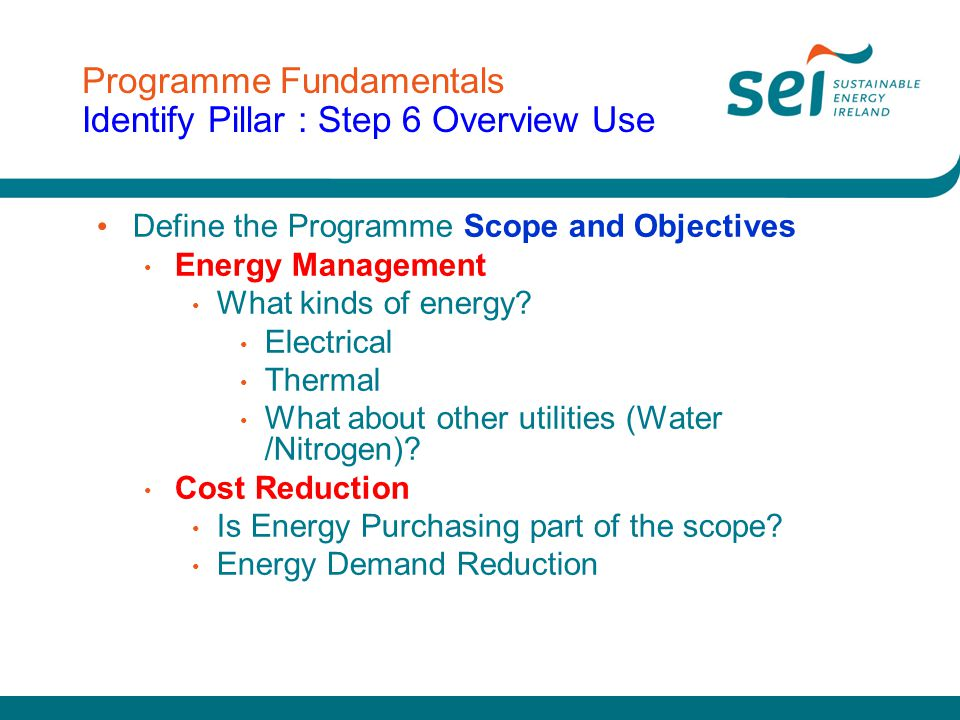 Programme Fundamentals Identify Pillar : Step 6 Overview Use