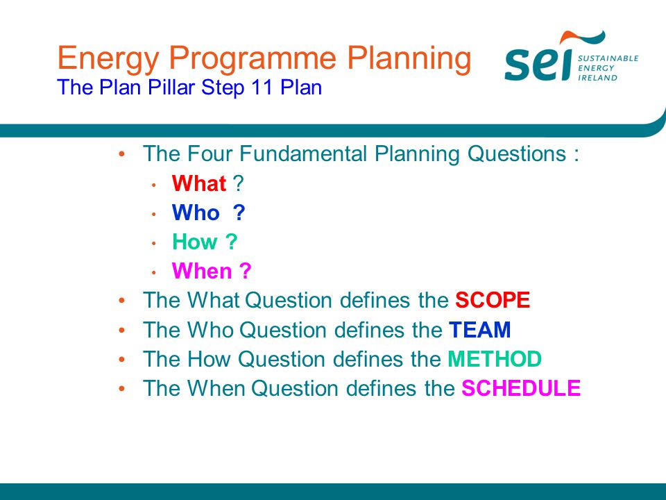 Energy Programme Planning The Plan Pillar Step 11 Plan
