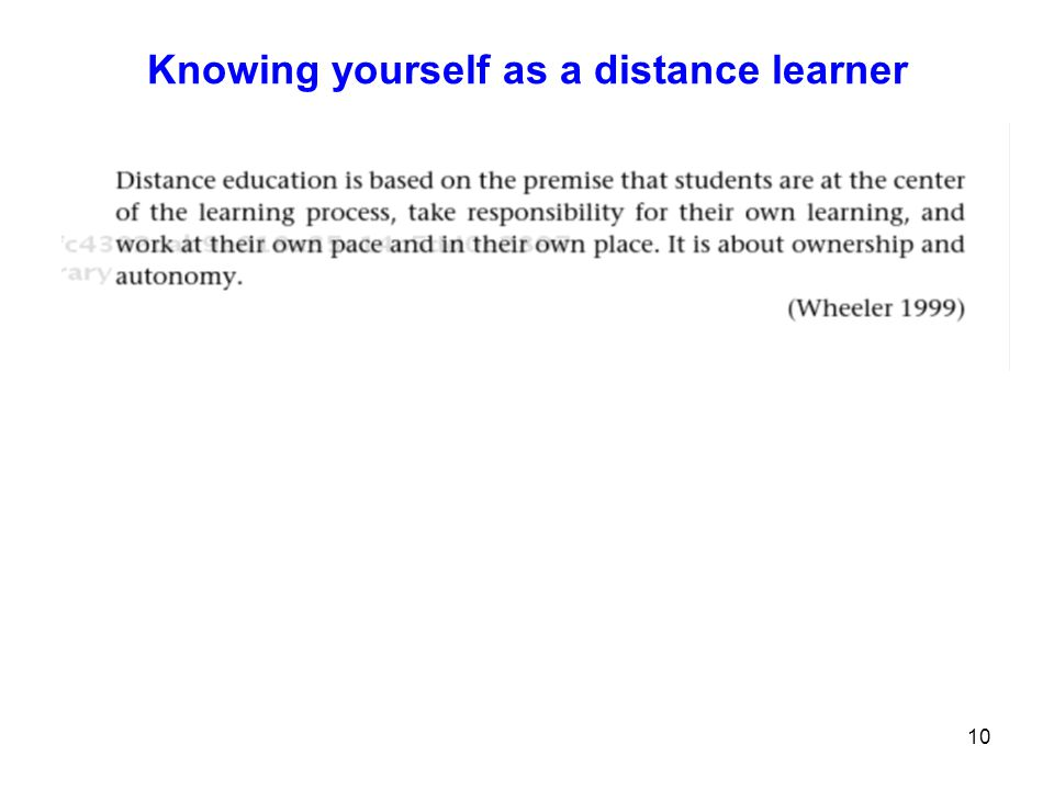 Knowing yourself as a distance learner