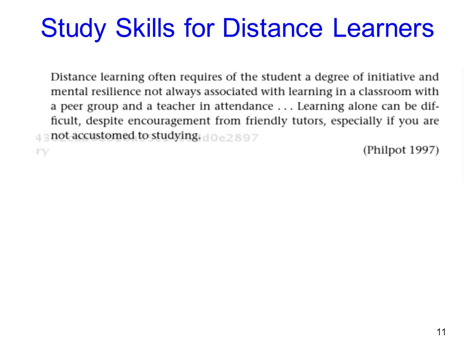 Study Skills for Distance Learners