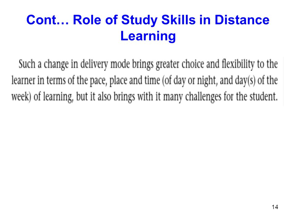 Cont… Role of Study Skills in Distance Learning