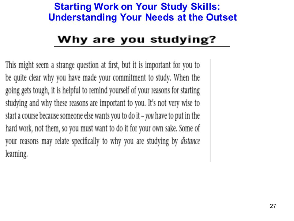 Starting Work on Your Study Skills: Understanding Your Needs at the Outset