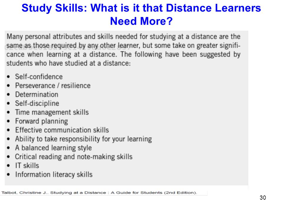 Study Skills: What is it that Distance Learners Need More