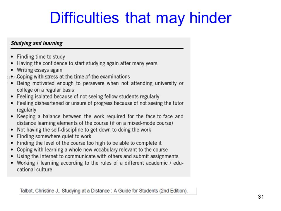 Difficulties that may hinder