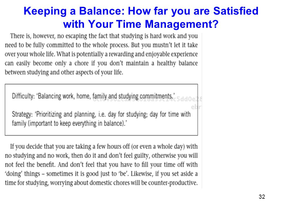 Keeping a Balance: How far you are Satisfied with Your Time Management
