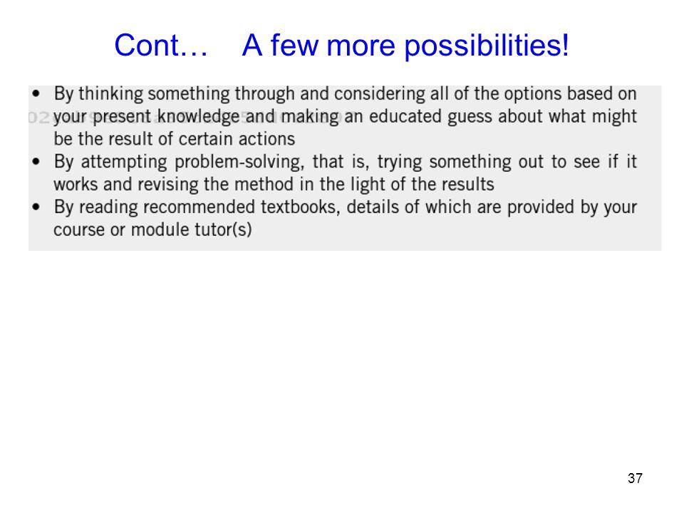 Cont… A few more possibilities!