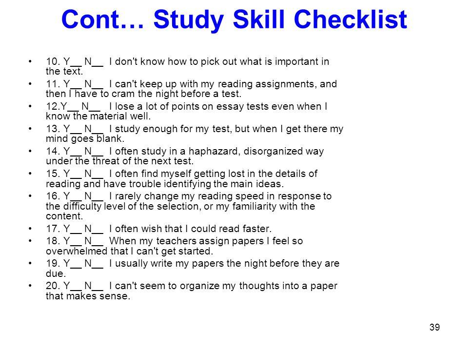 Cont… Study Skill Checklist