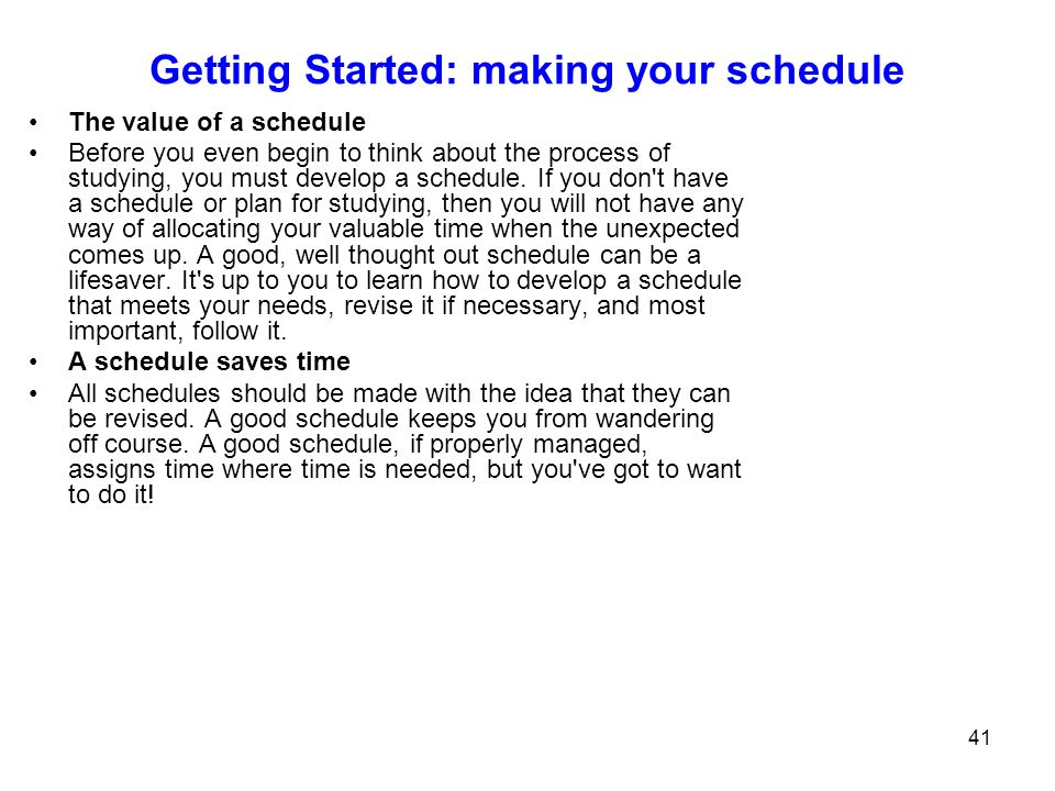 Getting Started: making your schedule