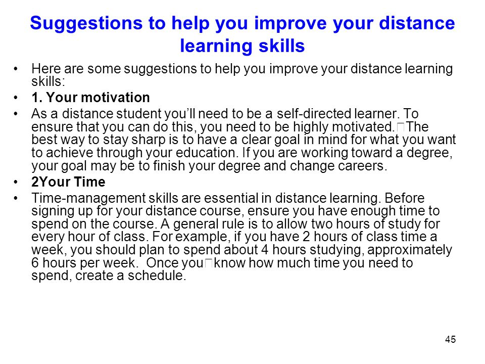 Suggestions to help you improve your distance learning skills