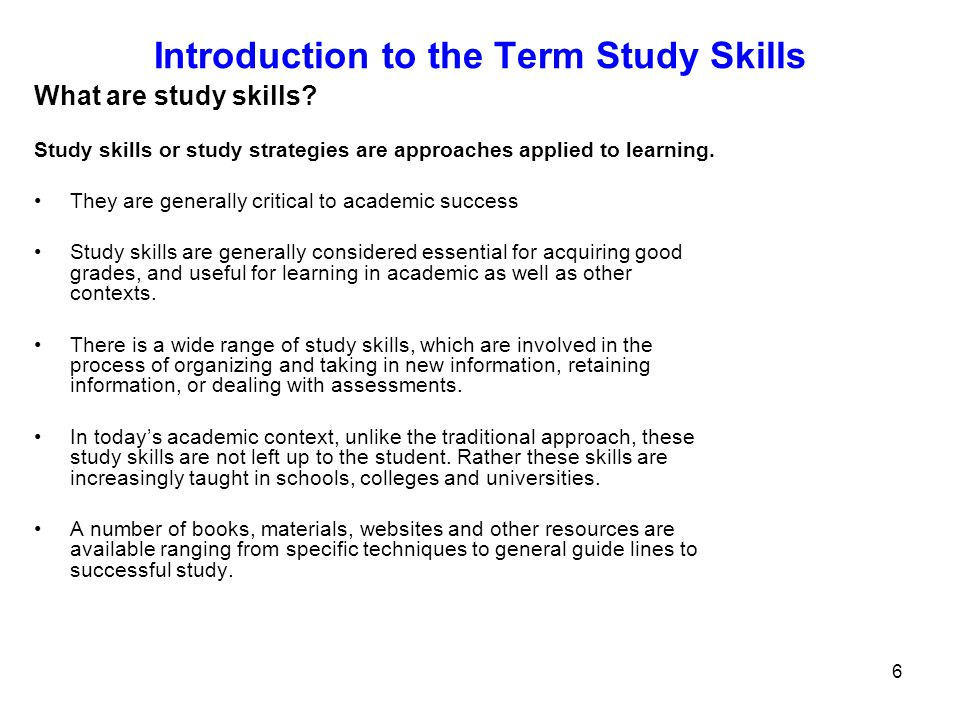 Introduction to the Term Study Skills