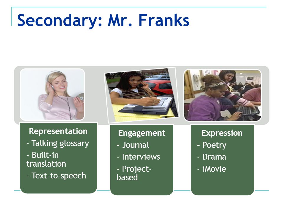 Secondary: Mr. Franks - Text-to-speech - Built-in translation