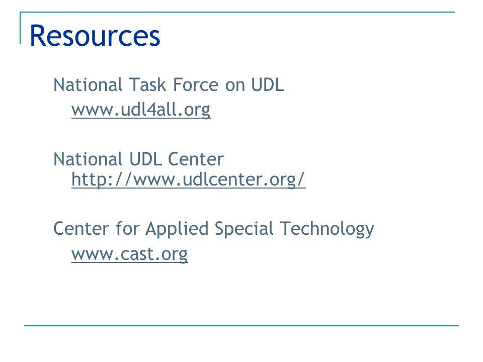Resources National Task Force on UDL www.udl4all.org