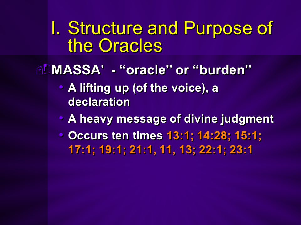 I. Structure and Purpose of the Oracles