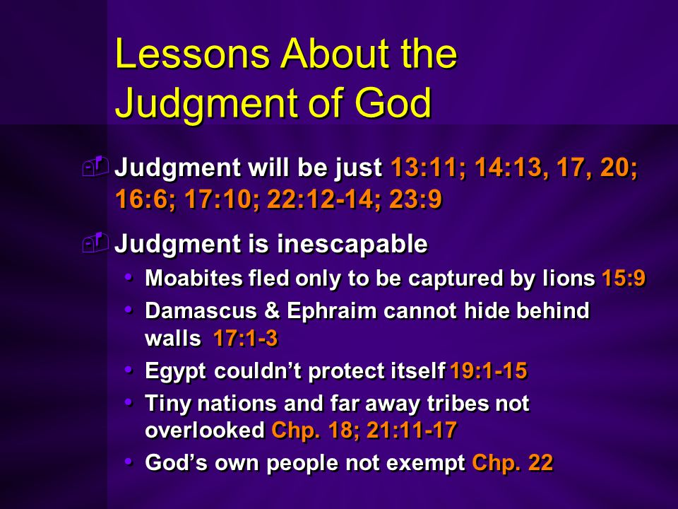 Lessons About the Judgment of God