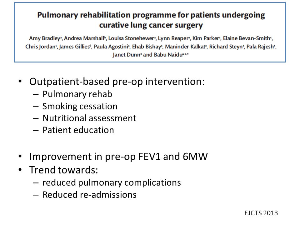 Outpatient-based pre-op intervention: