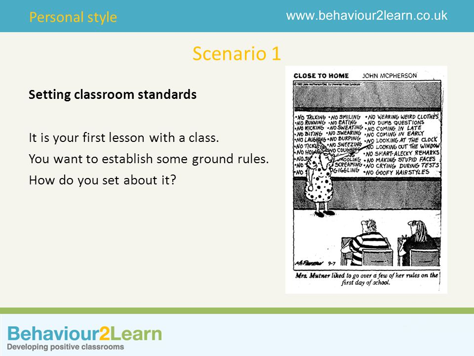 Scenario 1 Setting classroom standards