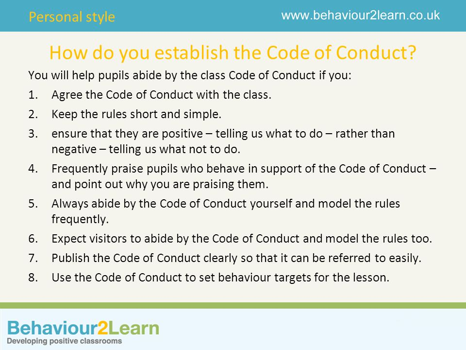 How do you establish the Code of Conduct