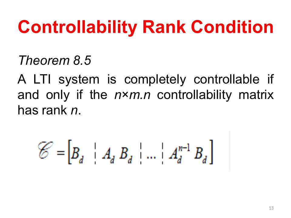 Controllability Rank Condition