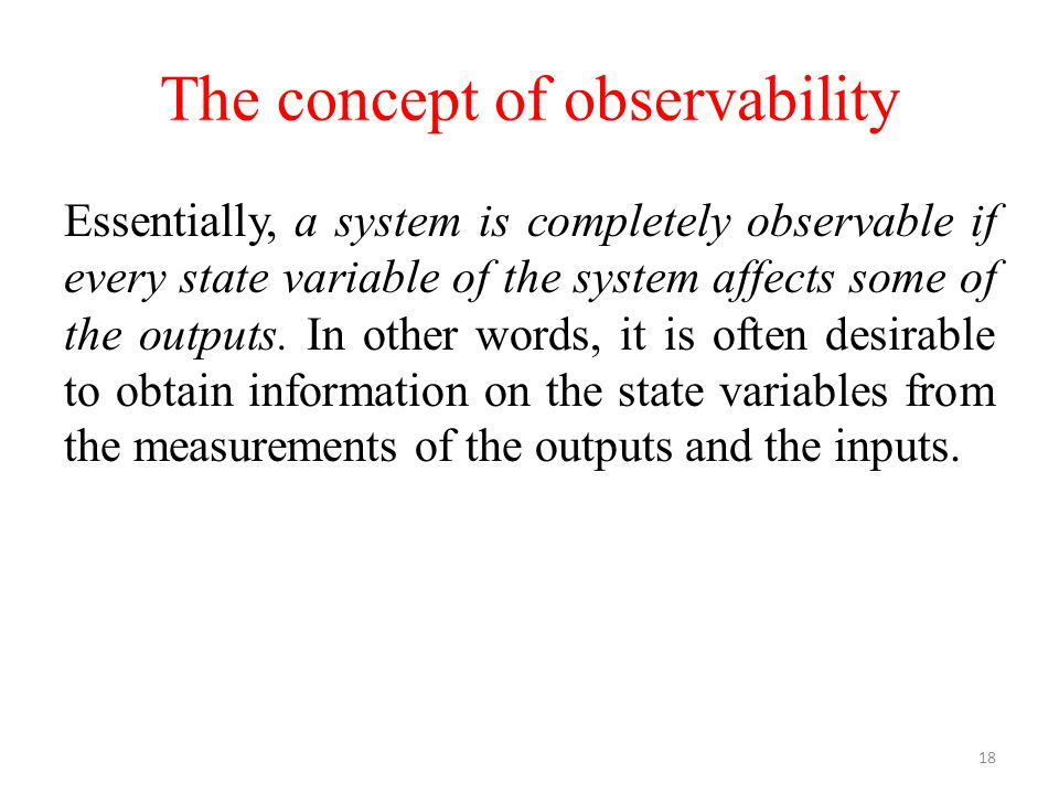 The concept of observability