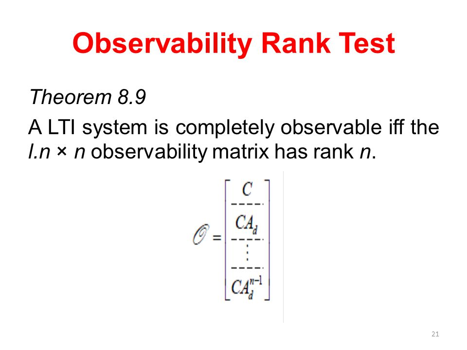 Observability Rank Test