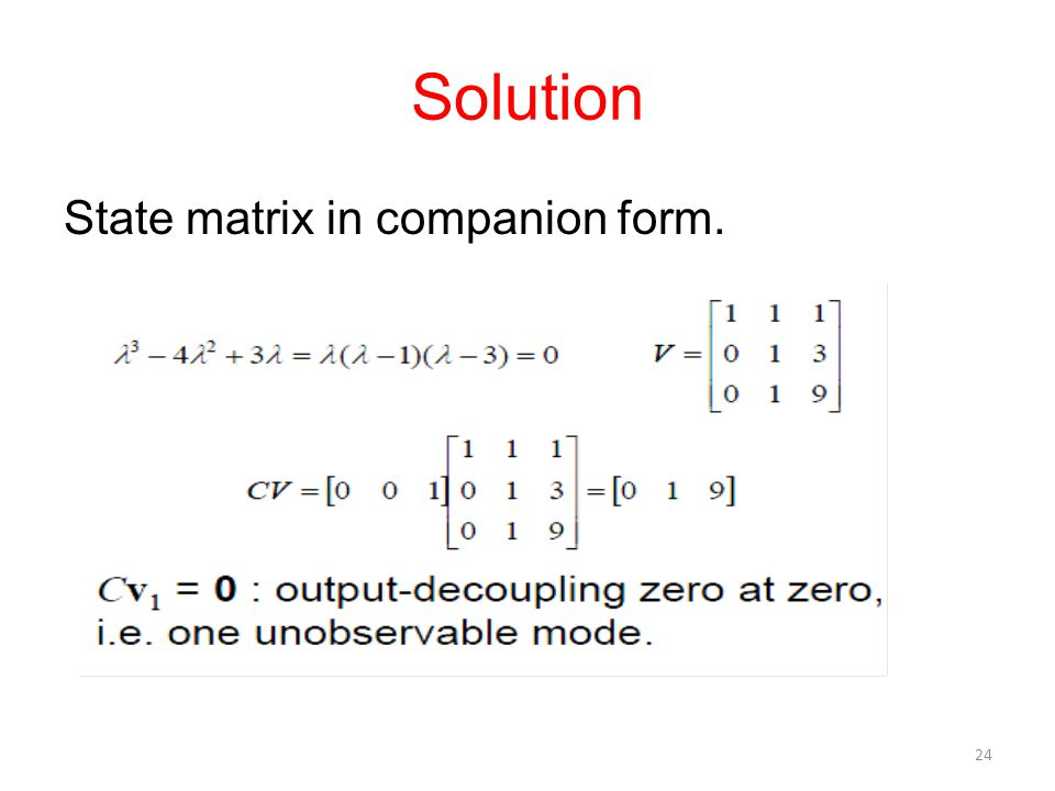 Solution State matrix in companion form.
