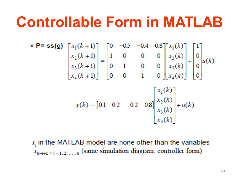 Controllable Form in MATLAB