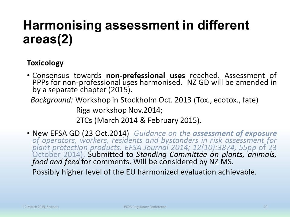 Harmonising assessment in different areas(2)