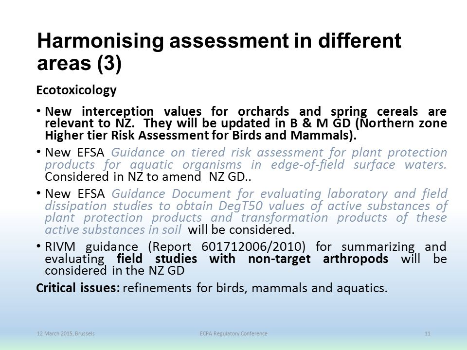 Harmonising assessment in different areas (3)