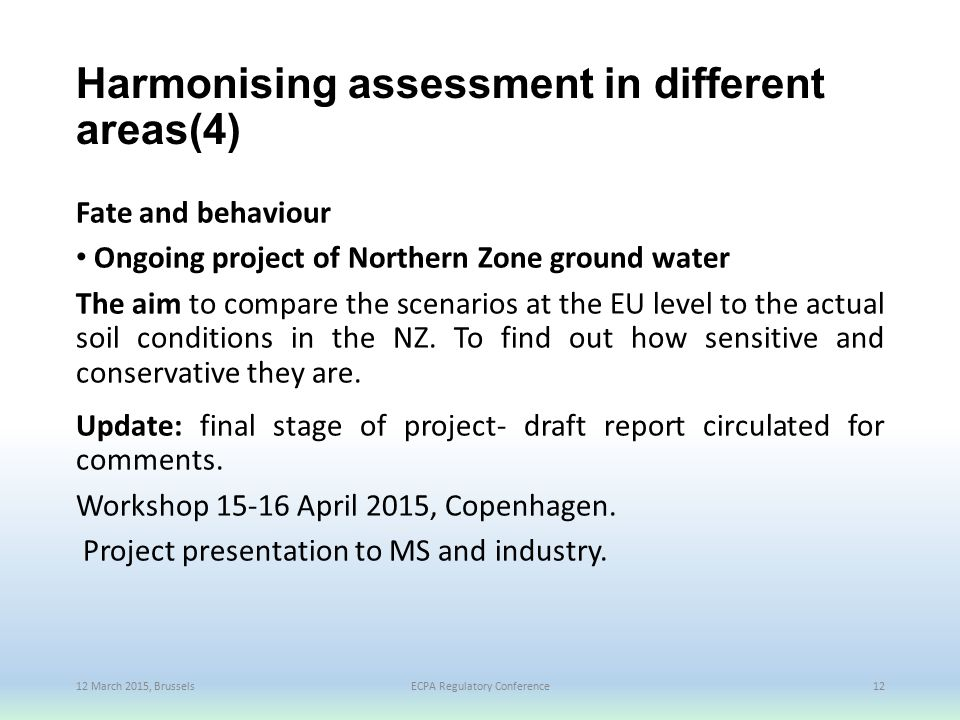 Harmonising assessment in different areas(4)