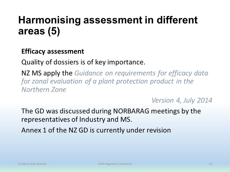 Harmonising assessment in different areas (5)