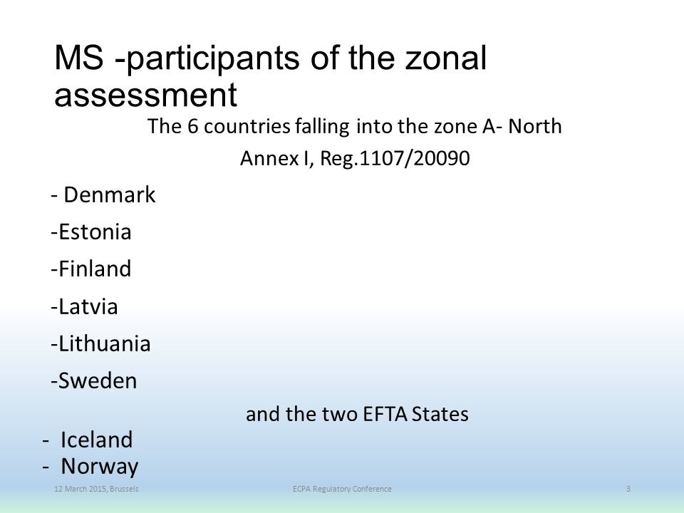 MS -participants of the zonal assessment