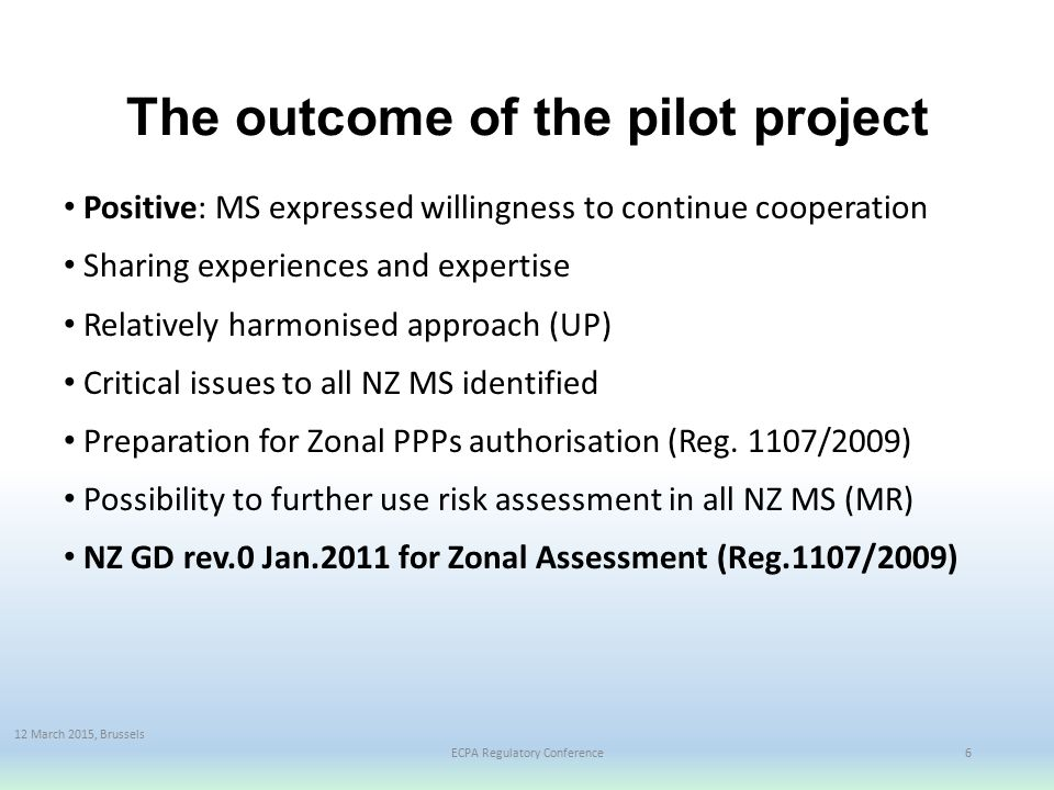The outcome of the pilot project