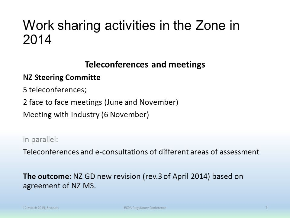 Work sharing activities in the Zone in 2014