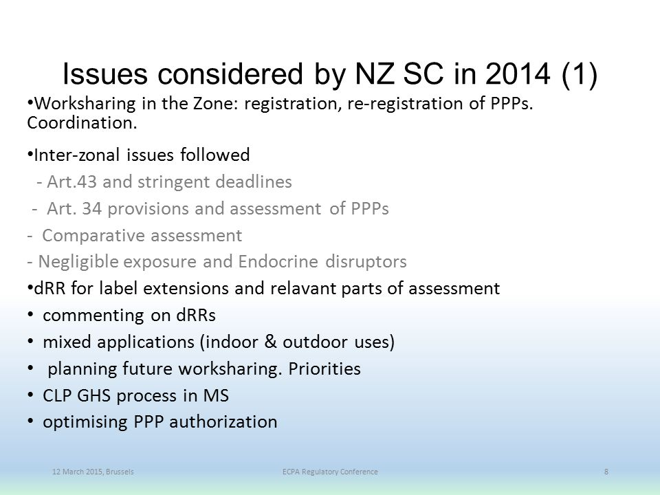 Issues considered by NZ SC in 2014 (1)
