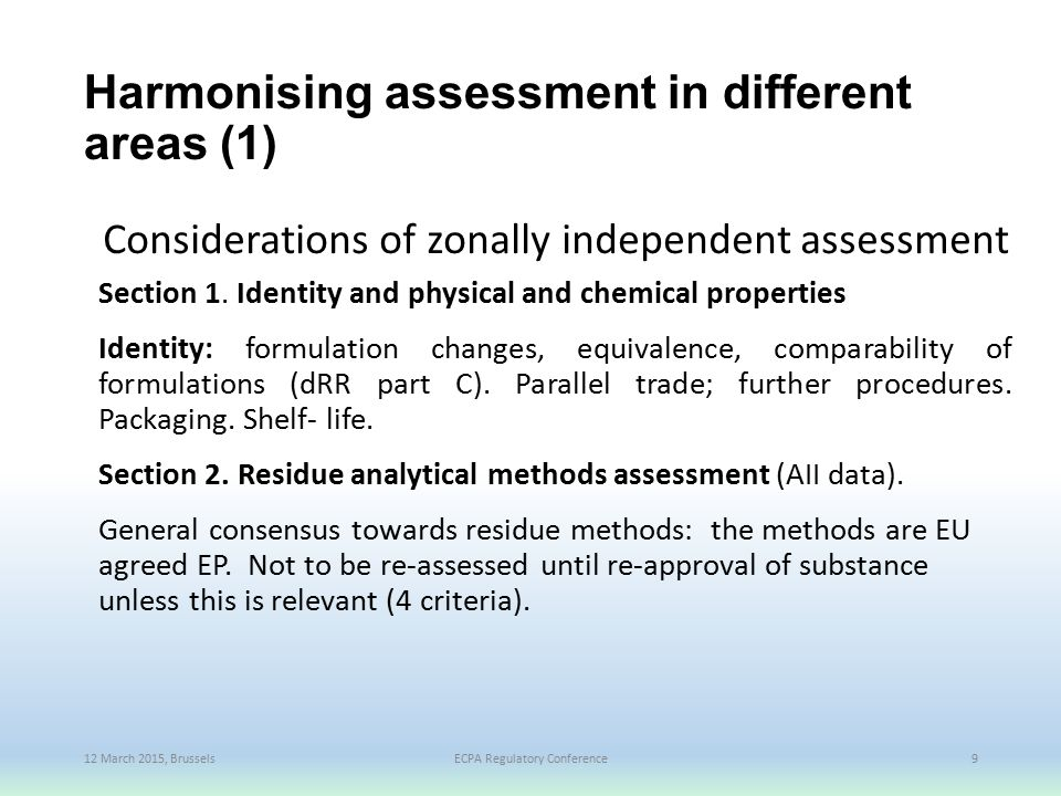 Harmonising assessment in different areas (1)