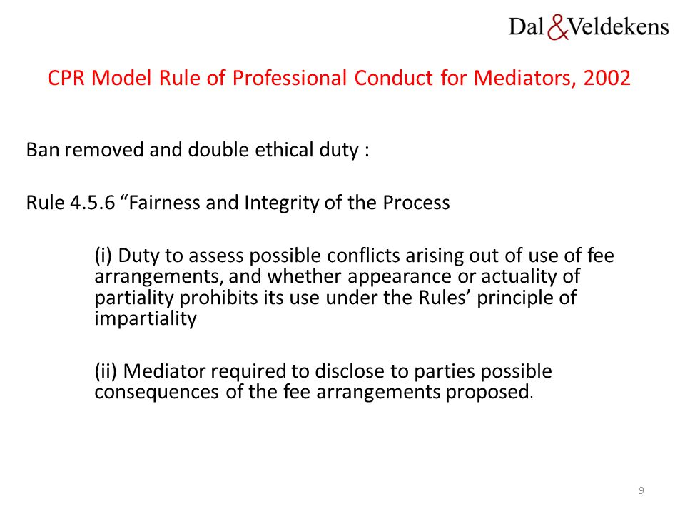 CPR Model Rule of Professional Conduct for Mediators, 2002