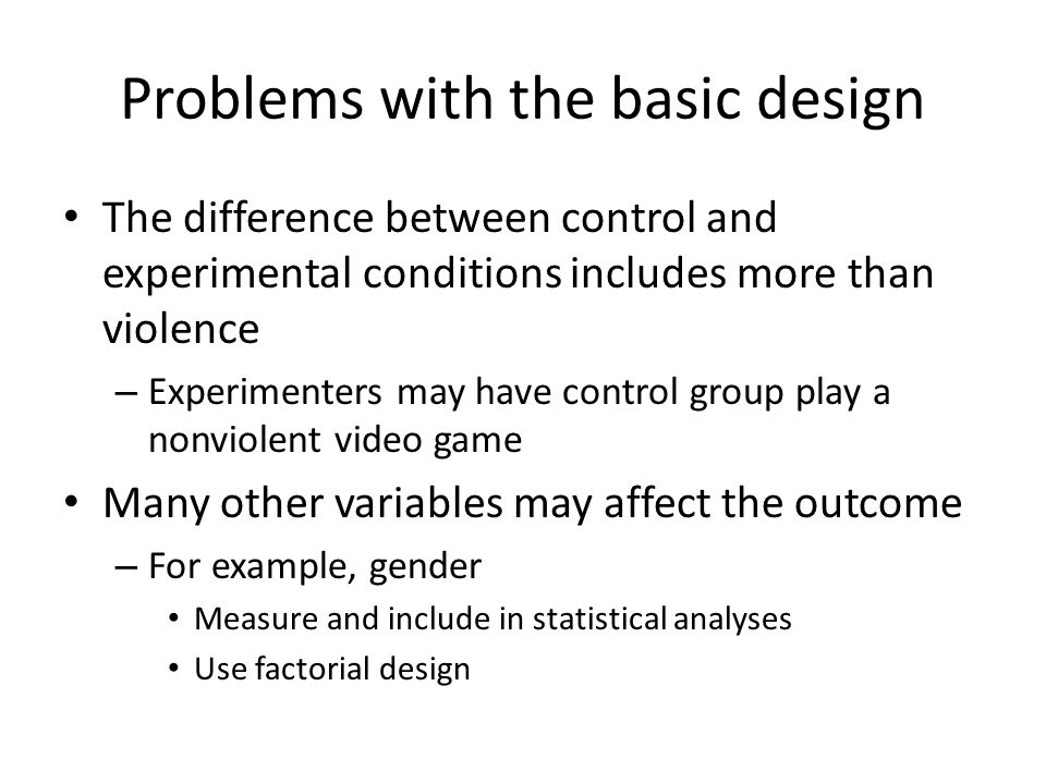 Problems with the basic design