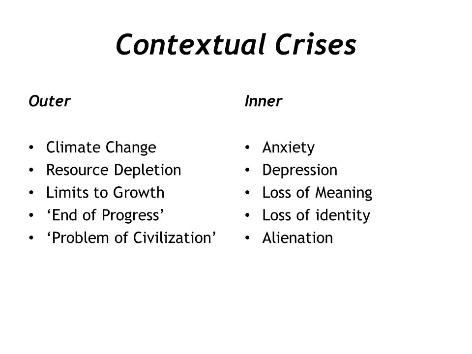 Contextual Crises Outer Inner Climate Change Resource Depletion
