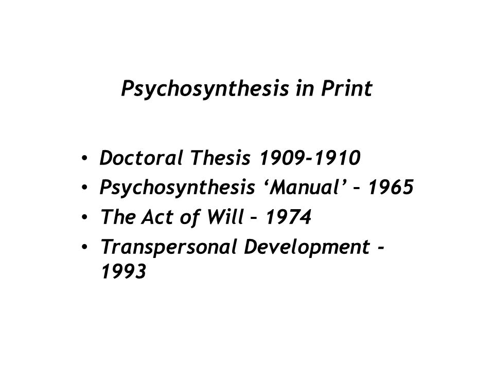Psychosynthesis in Print