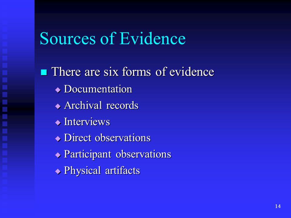 Sources of Evidence There are six forms of evidence Documentation