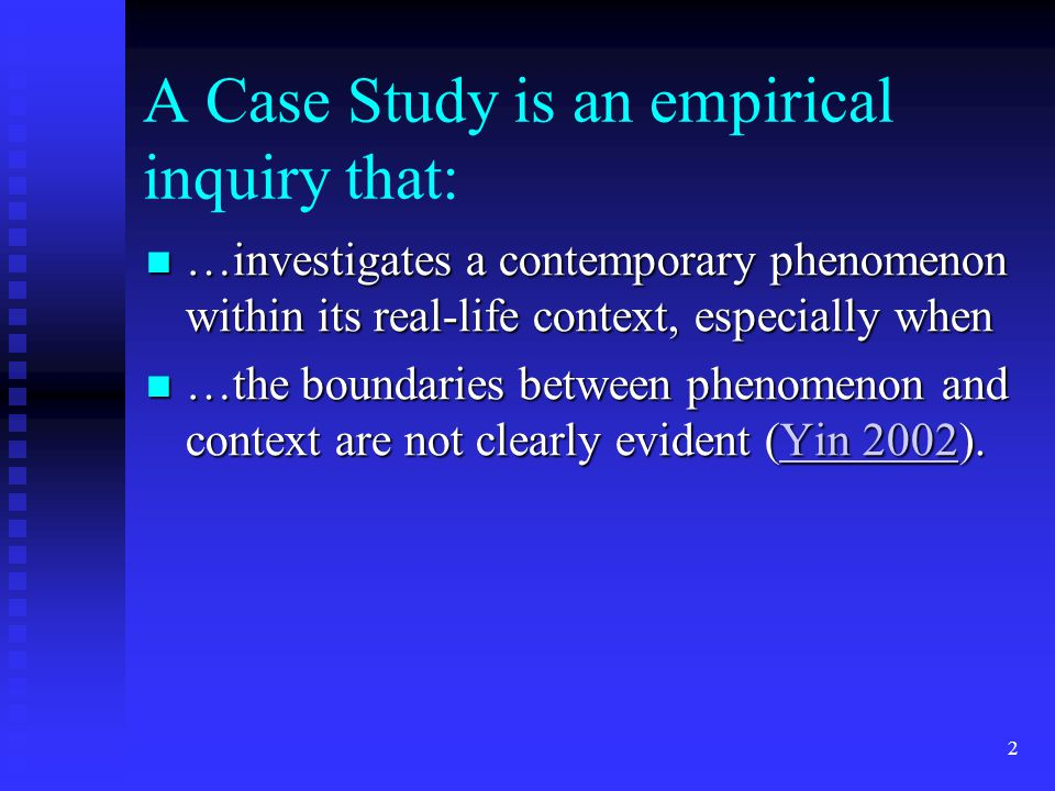 case study yin 1984 Application of a case study methodology winston m tellis fairfield university,winston@fair1fairfieldedu developed theory is used as a template against which to compare the empirical results of the case study ( yin , 1984.