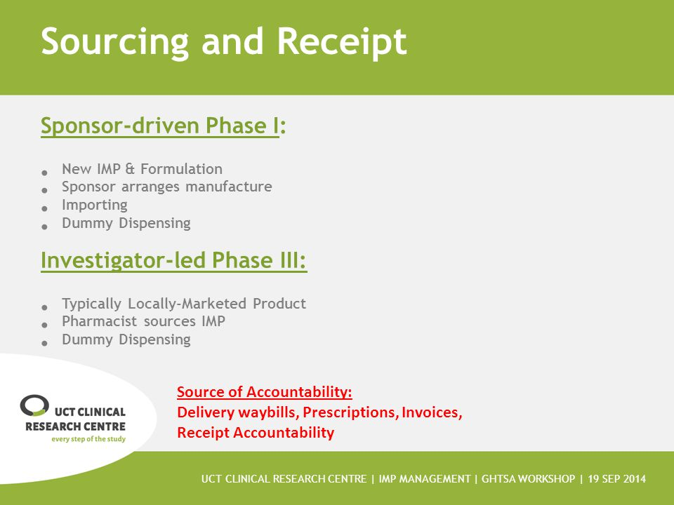 Sourcing and Receipt Sponsor-driven Phase I: