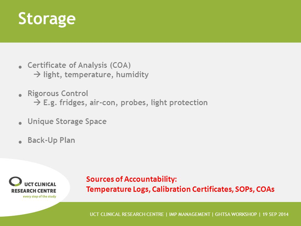 Storage Certificate of Analysis (COA)  light, temperature, humidity